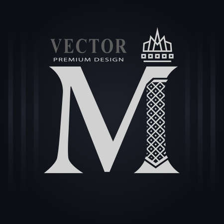 Elegant Capital letter M. Graceful Royal Style. Creative Calligraphic Beautiful Logo. Vintage Drawn Emblem for Book Design, Brand Name, Business Card, Restaurant, Boutique, Hotel. Vector illustration Stock Illustratie