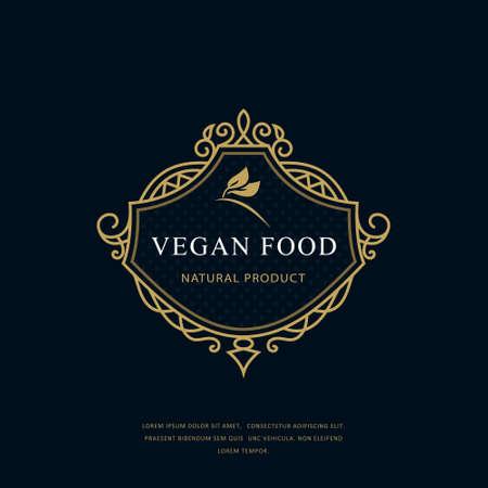 Vintage Monogram Vegan Food. Classic Filigree Style. Graceful Vegetarian Logo on Floral Background. Calligraphic Emblem for Restaurant, Book Design, Brand Name, Boutique, Cafe. Vector illustration Stock Illustratie