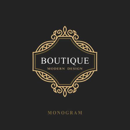 Monogram Design Elements, Graceful Template. Calligraphic Elegant Line Art Logo Design. Emblem Sign for Royalty, Business Card, Boutique, Hotel, Restaurant, Wine. Frame for Label. Vector Illustration Stock Illustratie