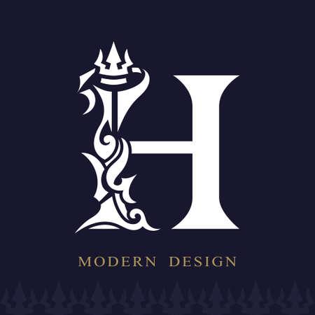 Elegant Capital letter H. Graceful Royal Style. Creative Calligraphic Beautiful Logo. Vintage Drawn Emblem for Book Design, Brand Name, Business Card, Restaurant, Boutique, Hotel. Vector illustration