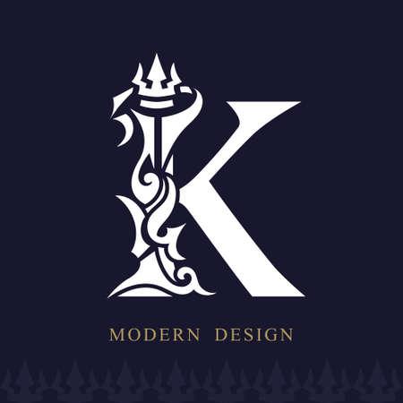 Elegant Capital letter K Graceful Royal Style. Creative Calligraphic Beautiful Logo. Vintage Drawn Emblem for Book Design, Brand Name, Business Card, Restaurant, Boutique, Hotel. Vector illustration