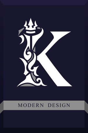 Elegant Capital letter K Graceful Royal Style. Creative Calligraphic Beautiful Logo. Vintage Drawn Emblem for Book Design, Brand Name, Business Card, Restaurant, Boutique, Hotel. Vector illustration Çizim