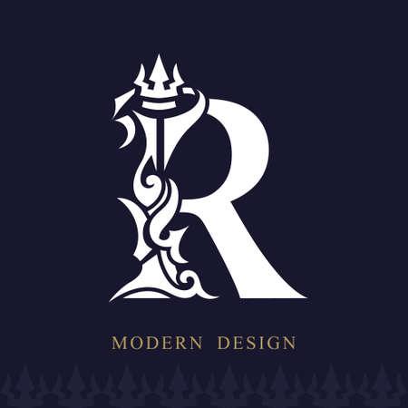 Elegant Capital letter R. Graceful Royal Style. Creative Calligraphic Beautiful Logo. Vintage Drawn Emblem for Book Design, Brand Name, Business Card, Restaurant, Boutique, Hotel. Vector illustration