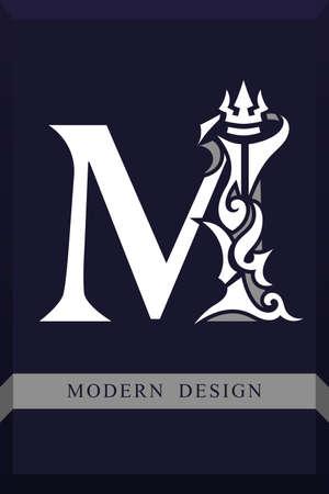 Elegant Capital letter M. Graceful Royal Style. Creative Calligraphic Beautiful Logo. Vintage Drawn Emblem for Book Design, Brand Name, Business Card, Restaurant, Boutique, Hotel. Vector illustration Vettoriali
