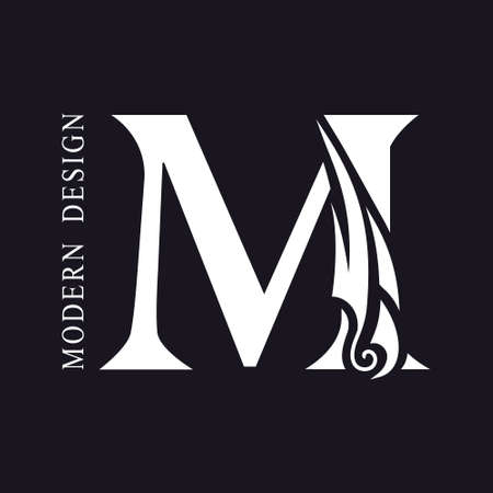 Creative Capital letter M. Graceful Royal Insignia. Calligraphic Beautiful Logo. Elegant Drawn Emblem for Book Design, Brand Name, Business Card, Restaurant, Boutique, Hotel. Vector illustration