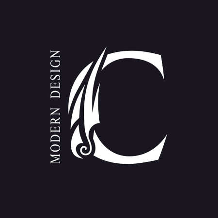 Creative Capital letter C. Graceful Royal Insignia. Calligraphic Beautiful Logo. Elegant Drawn Emblem for Book Design, Brand Name, Business Card, Restaurant, Boutique, Hotel. Vector illustration