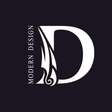 Creative Capital letter D. Graceful Royal Insignia. Calligraphic Beautiful Logo. Elegant Drawn Emblem for Book Design, Brand Name, Business Card, Restaurant, Boutique, Hotel. Vector illustration