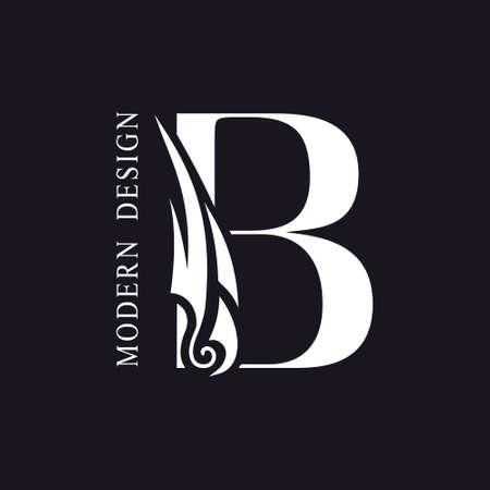 Creative Capital letter B. Graceful Royal Insignia. Calligraphic Beautiful Logo. Elegant Drawn Emblem for Book Design, Brand Name, Business Card, Restaurant, Boutique, Hotel. Vector illustration