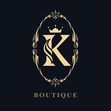 Vintage Ornament with Graceful Capital Letter K. Stylish Royal Emblem. Creative Logo. Drawn Luxury Monogram for Book Design, Brand Name, Business Card, Restaurant, Boutique, Hotel. Vector illustration