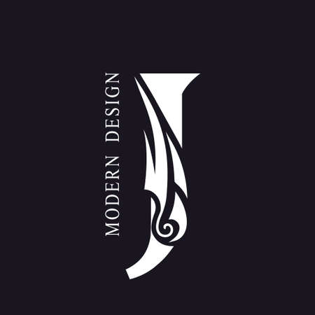 Creative Capital letter J. Graceful Royal Insignia. Calligraphic Beautiful Logo. Elegant Drawn Emblem for Book Design, Brand Name, Business Card, Restaurant, Boutique, Hotel. Vector illustration Vettoriali