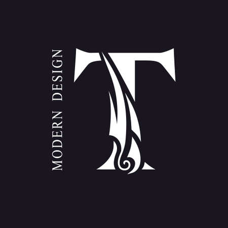Creative Capital letter T. Graceful Royal Insignia. Calligraphic Beautiful Logo. Elegant Drawn Emblem for Book Design, Brand Name, Business Card, Restaurant, Boutique, Hotel. Vector illustration