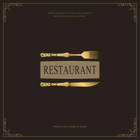 Luxury Restaurant Menu Template. Golden Cutlery. Elegant Drawn Fork and Knife. Creative Monogram with Inscription. Brochure cooking Design for Cafe, Restaurant, Bar. Vector illustration