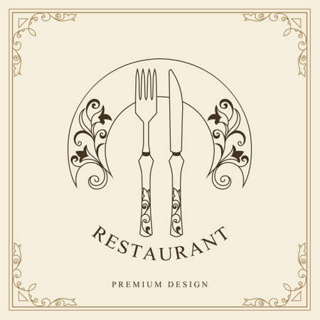 Luxury Template for Restaurant. Fork, Knife, and Plate with Flourishes Ornament. Elegant Linear Monogram with an Inscription. Creative Drawn Emblem. Calligraphic Border. Vector illustration