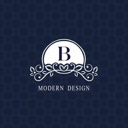 Vintage Ornament with Graceful Capital Letter B. Stylish Royal Emblem. Creative. Drawn Luxury Monogram for Book Design, Brand Name, Business Card, Restaurant, Boutique, Hotel. Vector illustration