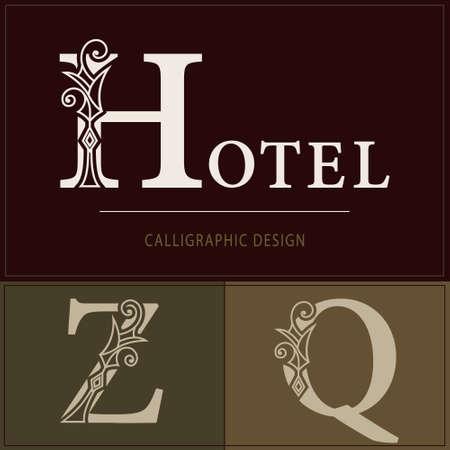 Royal Capital Letter H, Z, Q. Graceful Elegant Style. Line Art Design. Vintage Creative Drawn Emblem for Book Design, Brand Name, Business Card, Restaurant, Boutique, Hotel. Vector illustration
