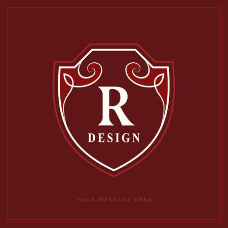 Creative Monogram. Template with letter R. Stylish Refined Emblem. Graceful  . Drawn Element for Book Design, Brand Name, Business Card, Restaurant, Boutique, Hotel, Invitation. Vector illustration