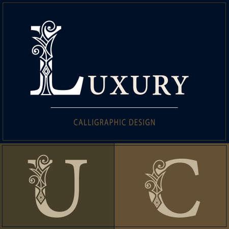 Royal Capital Letter L, U, C. Graceful Elegant Style. Line Art Design. Vintage Creative Drawn Emblem for Book Design, Brand Name, Business Card, Restaurant, Boutique, Hotel. Vector illustration