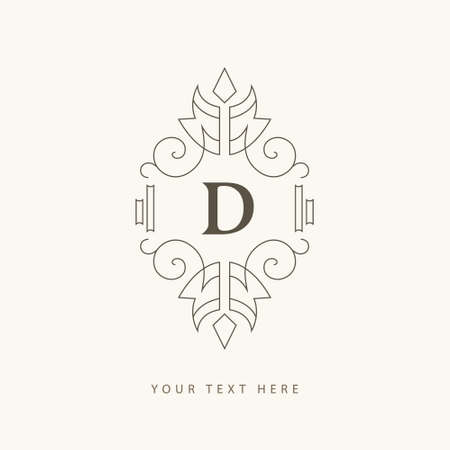 Elegant Ornament. Letter D. Graceful Emblem. Creative Logo in Linear Style. Drawn Luxury Monogram for Book Design, Invitation, Brand Name, Jewelery, Restaurant, Boutique, Hotel. Vector illustration Иллюстрация