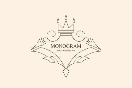 Elegant Ornament. Graceful Emblem. Creative Logo in Linear Style. Drawn Luxury Monogram for Book Design, Invitation, Brand Name, Jewelery, Restaurant, Boutique, Hotel. Vector illustration