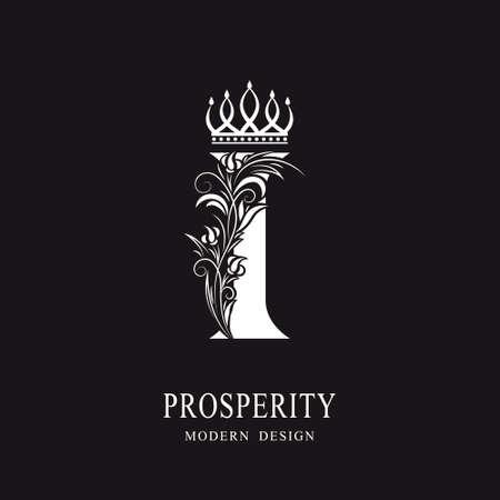 Elegant Capital letter I. Graceful royal style. Calligraphic beautiful logo. Vintage floral drawn emblem for book design, brand name, business card, Restaurant, Boutique, Hotel. Vector illustration