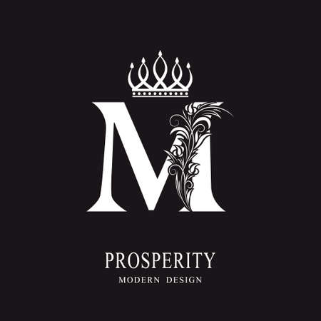 Elegant Capital letter M. Graceful royal style. Calligraphic beautiful logo. Vintage floral drawn emblem for book design, brand name, business card, Restaurant, Boutique, Hotel. Vector illustration