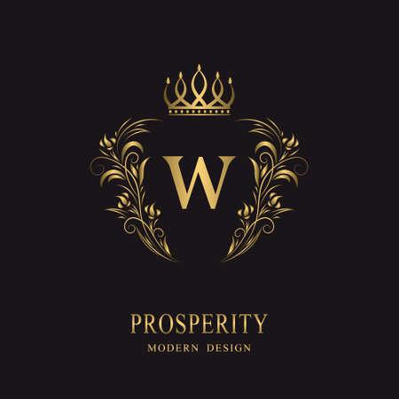 Beautiful gold monogram with crown. Letter W. Elegant logo. Calligraphic design. Luxury emblem. Vintage ornament. Graphics style. Flourishes boutique brand. Creative Royal mark. Vector illustration