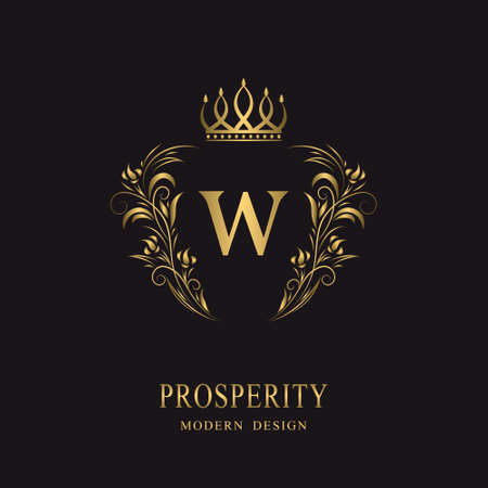 Beautiful gold monogram with crown. Letter W. Elegant logo. Calligraphic design. Luxury emblem. Vintage ornament. Graphics style. Flourishes boutique brand. Creative Royal mark. Vector illustration