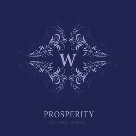Beautiful Floral Monogram. Letter W. Elegant Logo. Calligraphic Design. Luxury Emblem. Vintage Ornament. Graphics Style. Flourishes Boutique Brand. Creative Mark for Book Design. Vector Illustration
