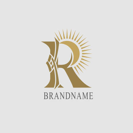 R Letter with Sun. Creative Stylish Logo. Modern Design. Elegant Trendy Template. Abstract Brand Symbol. Emblem with Inscription for Boutique, Jewelry, Restaurant, Business Card. Vector Illustration