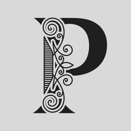 Elegant Capital letter P. Graceful style. Calligraphic Beautiful . Vintage Drawn Emblem for Book Design, Brand Name, Business Card, Restaurant, Boutique, Hotel. Black and White Vector illustration