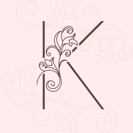 Elegant letter K. Thin line. Vintage pattern with flowers. Calligraphic . Floral Drawn Emblem for Book Design, Brand Name, Business Card, Jewelry, Restaurant, Boutique. Vector illustration