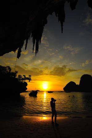 aonang: Sunset at the cave, Aonang, Krabi, Thailand Stock Photo