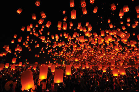 traditional festivals: Floating lamp in Chiangmai, Thailand