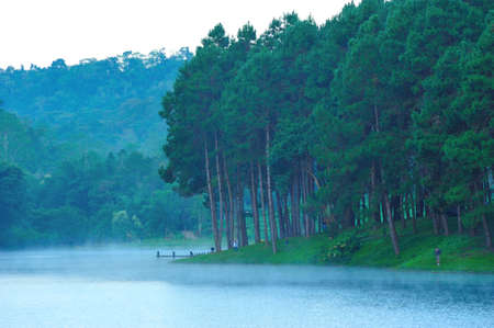 Fog at Pang-ung lake, Maehongson, Thailand photo