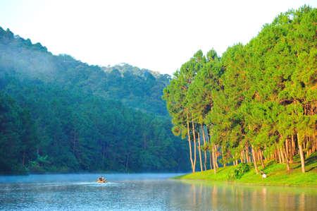 Bamboo rafting at Pang-ung lake, Maehongson, North Thailand photo