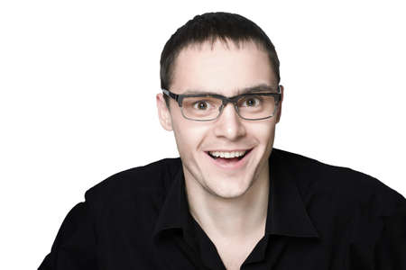 A man with glasses laughing on white background Stock Photo - 12520918