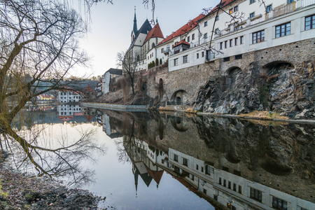 krumlov: Panoramic view of Cesky Krumlov, Czech Republic Stock Photo