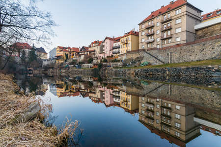 reflected: Traditional colorful houses in Cesky Krumlov Reflected in the river