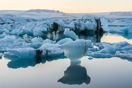 glacial: Icebergs in Jokulsarlon glacial lake at sunset, Iceland