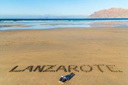 lanzarote: Lanzarote text written on the beach, Lanzarote, Canary Islands, Spain