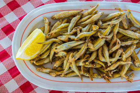 sprat: Fried gueldes, traditional food Canary Islands, Spain