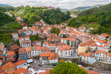 spanish village: Viewpoint of the traditional Spanish village of Cudillero in Asturias, Spain Stock Photo