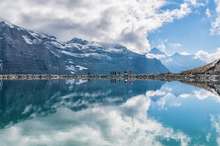 eiger: Spectacular view of Swiss alps Reflected in the lake