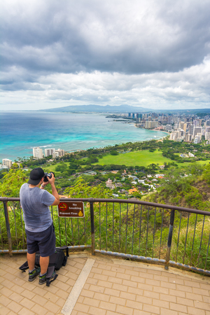 oahu: Panoramic view from diamond head state monument viewpoint, Oahu, Hawaii, Usa Stock Photo