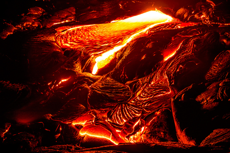 Amazing view of lava flowing in Volcanoes National Park, Big Island, Hawaii