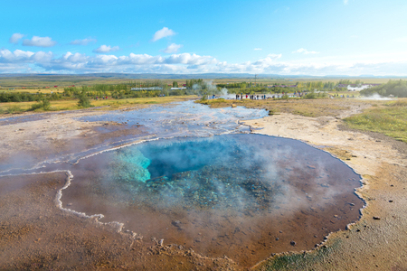 Blue pool at the Haukadalur geothermal area in Iceland