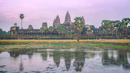 Amazing sunset in Angkor Wat temple, Siem Reap, Cambodia