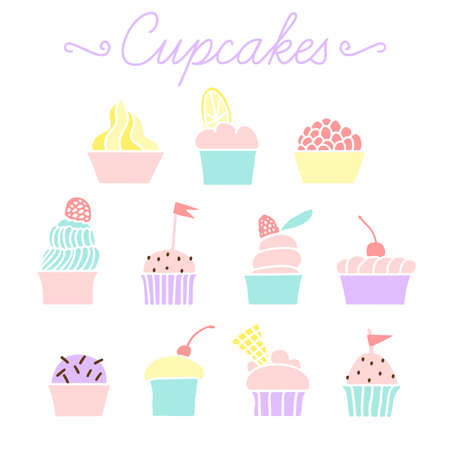 cupcakes isolated: Set of vector colorful cupcakes for party and Birthday isolated on white background. Vector cupcakes for party, wedding, Birthday, postcards, invitations and other.