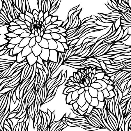 aster: Vector seamless floral pattern black and white monochrome in retro vintage style aster; peony; chrysanthemum; dahlia for wallpaper, postcard, print, textile, fabric and others Illustration