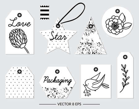 Set of vector black and white elements for party and Birthday isolated on white background. Vector cute elements for party, wedding, Birthday, postcards, invitations and other.